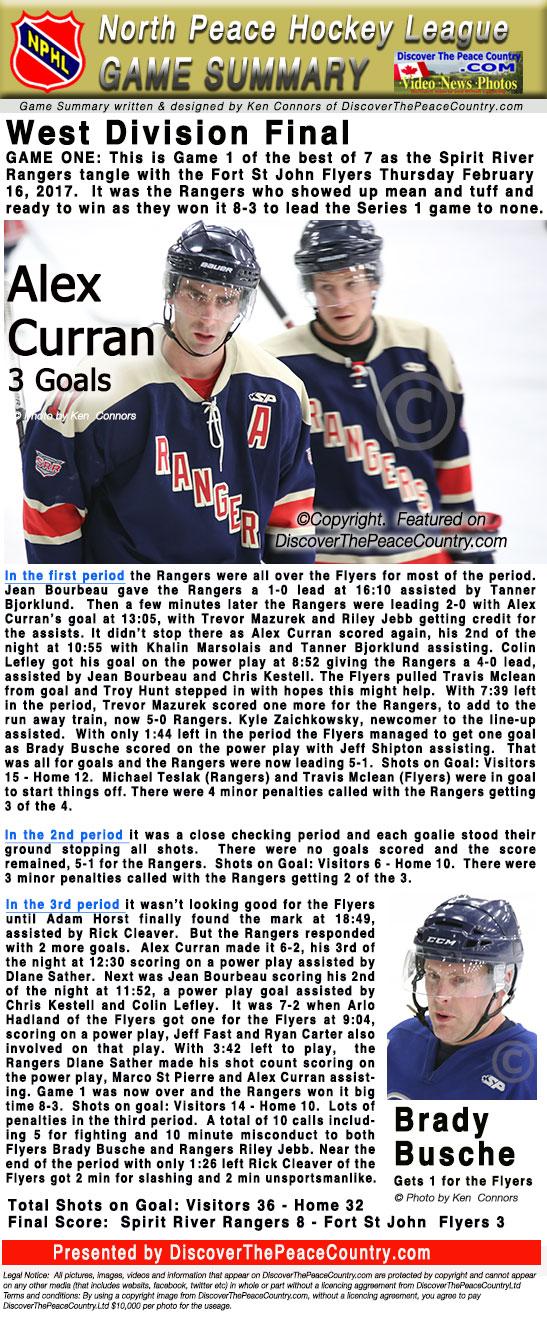 Spirit River Rangers vs FSJ Flyers