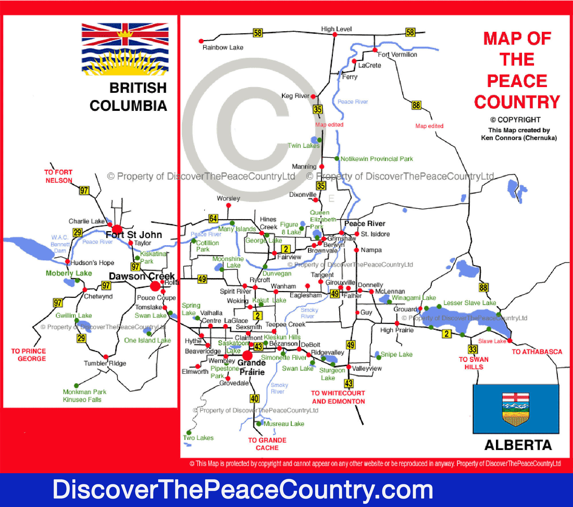 Map of the Peace Country - Northern Alberta & British